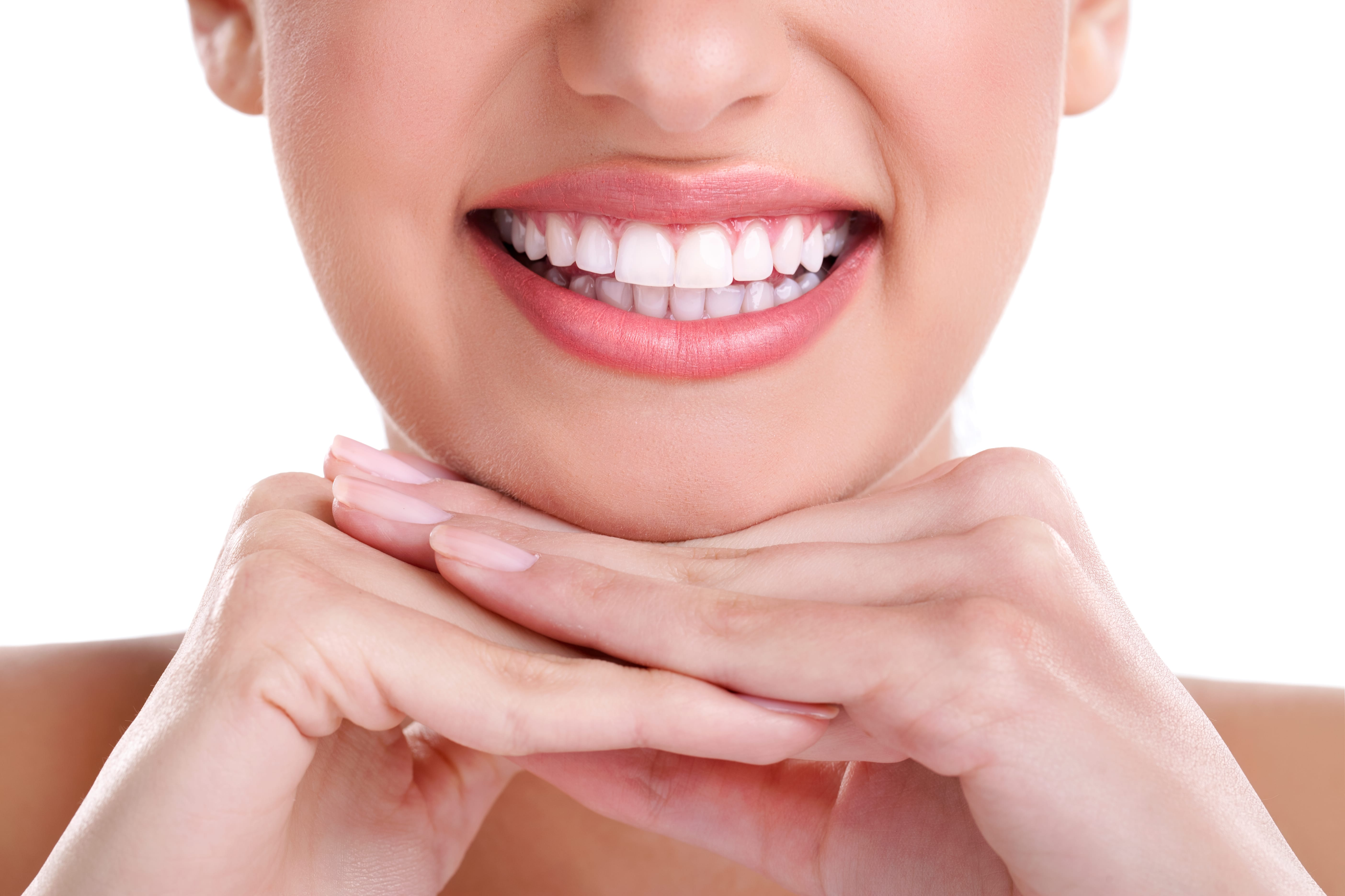 Smiling female with white teeth
